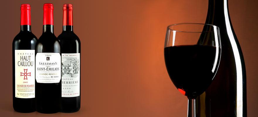 Bouteilles de vin du vignoble bordelais