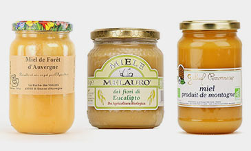 Assortment of organic honeys